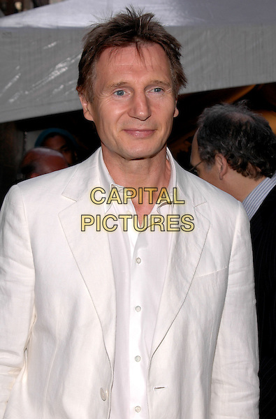 "LIAM NEESON.Premiere of ""Star Wars III Revenge of the Sith"" at the Ziegfeld Theater in Manhattan. New York, New York.May 12th, 2005.Photo Credit: Patti Ouderkirk/AdMedia.half length white.www.capitalpictures.com.sales@capitalpictures.com.© Capital Pictures."