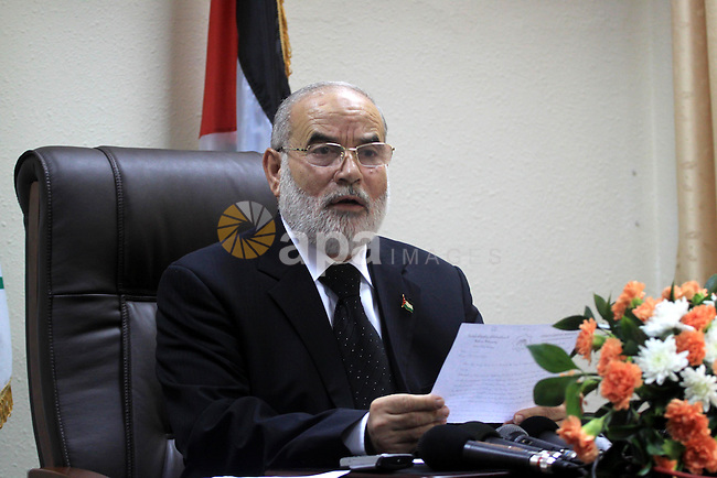 The spokesman of the parliament Ahmed Bahr delivers speech during a conference against Mahmoud Abbas intention to transfer the legislative council proprieties to the Palestinian national council, in Gaza City on Nov 17,2009. Photo by Mohammed Asad