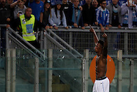 Calcio, Serie A: Lazio vs Frosinone. Roma, stadio Olimpico, 4 ottobre 2015.<br /> Lazio's Keita Diao celebrates after scoring during the Italian Serie A football match between Lazio and Frosinone at Rome's Olympic stadium, 4 October 2015.<br /> UPDATE IMAGES PRESS/Isabella Bonotto