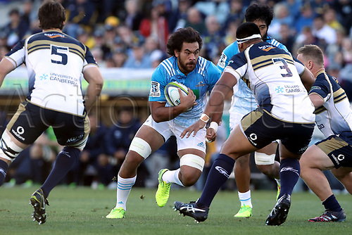 April 30th 2017,Canberra, Australia; Super Rugby Match; Brumbies versus Blues; Steven Luatua  on the attack into Allan Alaalatoa