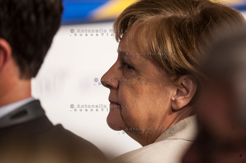 Rome, Italy, March 25,2017. German Chancellor Angela Merkel attends the meeting in the Orazi and Curiazi Hall at the Palazzo dei Conservatori during an EU summit in Rome. European Union leaders were gathering in Rome to mark the 60th anniversary of their founding treaty and chart a way ahead following the decision of Britain to leave the 28-nation bloc.
