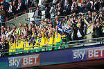 Norwich City 2 Middlesbrough 0, 25/05/2015. Wembley Stadium, Championship Play Off Final. Winning captain Russell Martin of Norwich City lifts the trophy in celebration alongside team mates. A match worth £120m to the victors. On the day Norwich City secured an instant return to the Premier League with victory over Middlesbrough in front of 85,656. Photo by Simon Gill.