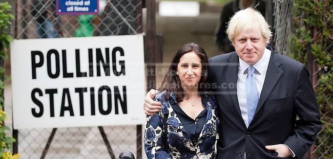 03/05/2012. LONDON, UK. London Mayor Boris Johnson and his wife, Marina Wheeler, stand outside a polling station in Islington, North London, after casting their vote in the 2012 mayoral and council elections. Photo credit: Matt Cetti-Roberts
