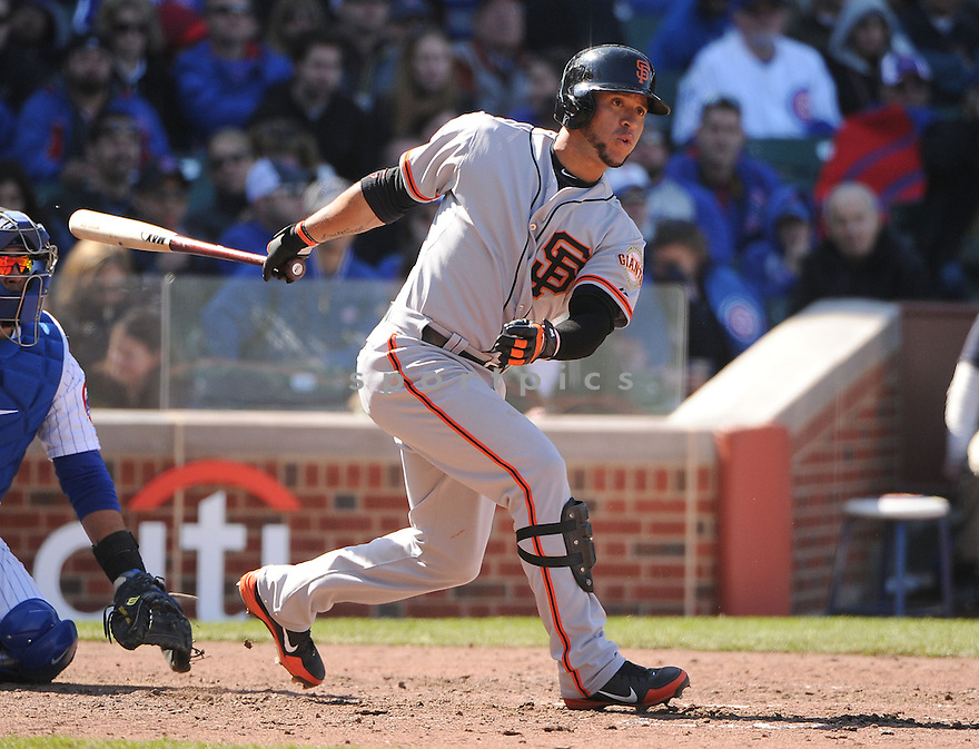 San Francisco Giants Gregor Blanco (7) during a game against the Chicago Cubs on April 14, 2013 at Wrigley Field in Chicago, IL. The Giants beat the Cubs 10-7.