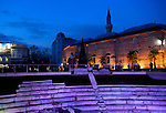 Roman stadium steps illuminated at night, city centre of Plovdiv, Bulgaria