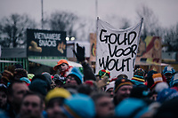 #believing Wout Van Aert (BEL/Crelan-Charles) fans<br /> 'Gold for Wout'<br /> <br /> Elite Men's Race<br /> UCI CX Worlds 2018<br /> Valkenburg - The Netherlands