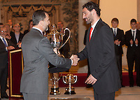Prince Felipe of Spain and Jorge Garbajosa attend the National Sports Awards ceremony at El Pardo Palace. December 05, 2012. (ALTERPHOTOS/Caro Marin) NortePhoto
