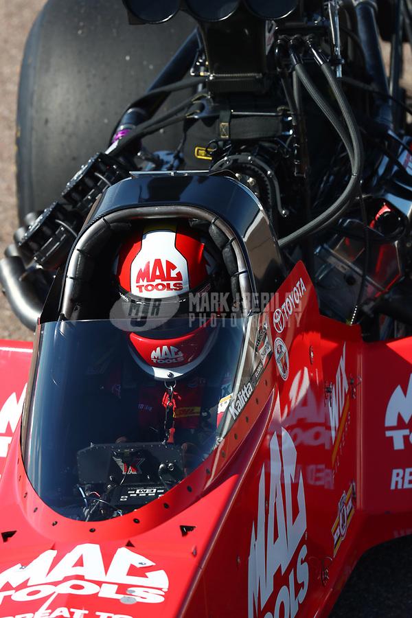 Feb 23, 2019; Chandler, AZ, USA; NHRA top fuel driver Doug Kalitta during qualifying for the Arizona Nationals at Wild Horse Pass Motorsports Park. Mandatory Credit: Mark J. Rebilas-USA TODAY Sports