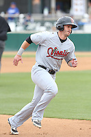 George Roberts (3) of the Visalia Rawhide runs the bases during a game against the Rancho Cucamonga Quakes at LoanMart Field on May 6, 2015 in Rancho Cucamonga, California. Visalia defeated Rancho Cucamonga, 7-2. (Larry Goren/Four Seam Images)