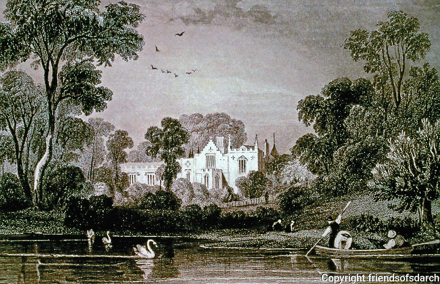 Strawberry Hill, 19th Century engraving. Twickenham, London; Lord Waldegrave's Giclee Print by William Tombleson.