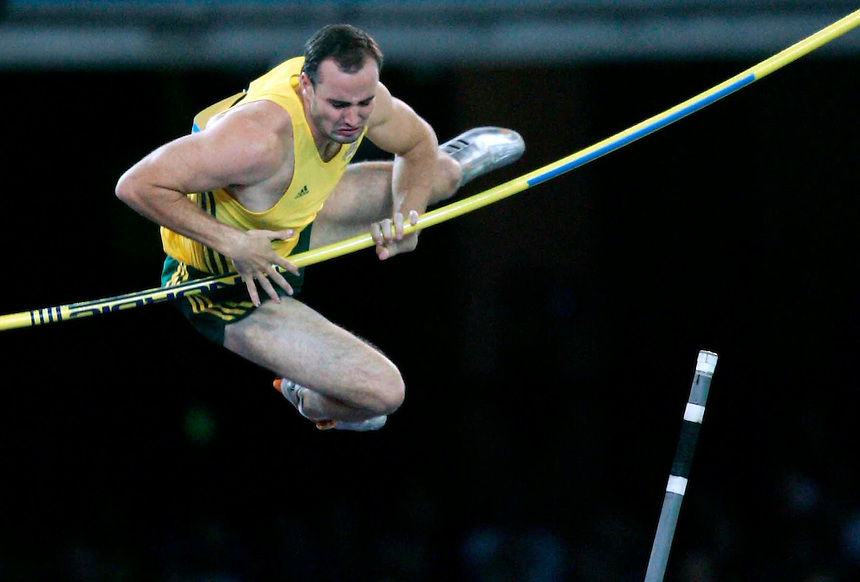 Athletics at the 2006 Melbourne Commonwealth Games. Mens pole vaulter Paul Burgess fails to clear the bar.