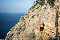 Mount Athos - The Holy Mountain.<br /> Monks covers on the cliff edge of Karoulia, near to one of their cells. <br /> <br /> Photographer: Rick Findler