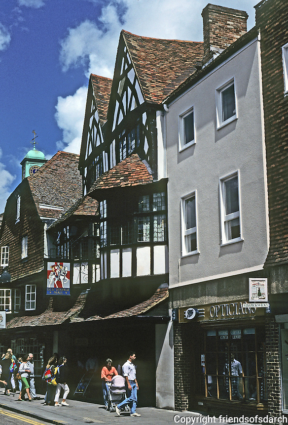 "Salisbury: Bay Tree Restaurant, formerly The Old George Inn where Samuel Pepys stayed.  In 1668, he ""lay in a silke bed and had very good diet, "" but it was pricey. Photo '90."
