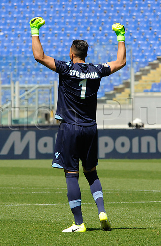April 30th 2017, Stadio Olimpico, Rome, Italy;   Serie A football,  Roma versus SS Lazio;  Thomas Strakosha celebrates as his team take a 1-3 lead