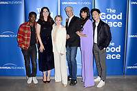 "LOS ANGELES - JUN 17:  William Jackson Harper, D'Arcy Carden, Kristen Bell, Ted Danson, Jameela Jamil, Manny Jacinto at the ""The Good Place"" FYC Panel at the UCB Sunset Theater on June 17, 2019 in Los Angeles, CA"