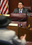 Nevada Senate Majority Leader Michael Roberson, R-Henderson, listens to testimony from lobbyist Carol Vilardo during a hearing at the Legislative Building in Carson City, Nev., on Thursday, March 26, 2015. <br /> Photo by Cathleen Allison