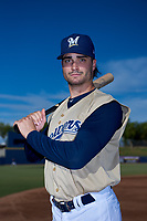 AZL Brewers Gold Zane Zurbrugg (18) poses for a photo before an Arizona League game against the AZL Brewers Blue on July 13, 2019 at American Family Fields of Phoenix in Phoenix, Arizona. The AZL Brewers Blue defeated the AZL Brewers Gold 6-0. (Zachary Lucy/Four Seam Images)