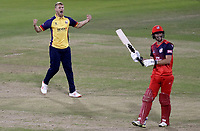 Jamie Porter of Essex celebrates taking the wicket of Dane Vilas during Lancashire Lightning vs Essex Eagles, Vitality Blast T20 Cricket at the Emirates Riverside on 4th September 2019