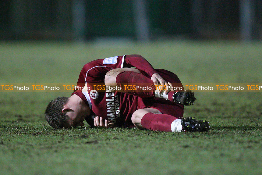 Max Cornhill of Chelmsford goes down with an injury - Chelmsford City vs Weston-super-Mare - Blue Square Conference South Football at Melbourne Park Stadium - 20/02/12- MANDATORY CREDIT: Gavin Ellis/TGSPHOTO - Self billing applies where appropriate - 0845 094 6026 - contact@tgsphoto.co.uk - NO UNPAID USE.