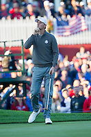 Thomas Pieters (Team Europe) on the 1st green during the Saturday morning Foursomes at the Ryder Cup, Hazeltine national Golf Club, Chaska, Minnesota, USA.  01/10/2016<br /> Picture: Golffile | Fran Caffrey<br /> <br /> <br /> All photo usage must carry mandatory copyright credit (&copy; Golffile | Fran Caffrey)