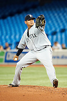 Seattle Mariners pitcher Felix Hernandez #34 during an American League game against the Toronto Blue Jays at the Rogers Centre on September 13, 2012 in Toronto, Ontario.  Toronto defeated Seattle 8-3.  (Mike Janes/Four Seam Images)