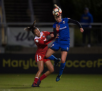 Boyds, MD - Saturday September 30, 2017: Beverly Yanez and Caprice Dydasco during a regular season National Women's Soccer League (NWSL) match between the Washington Spirit and the Seattle Reign FC at Maureen Hendricks Field, Maryland SoccerPlex.
