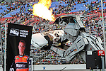 Robosaurus entertains the fans before the Verizon Indy Car Firestone 600 race at Texas Motor Speedway in Fort Worth,Texas.