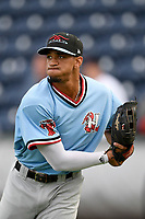 Center fielder Bubba Thompson (25) of the Hickory Crawdads warms up before a game against the Greenville Drive on Monday, July 23, 2018, at Fluor Field at the West End in Greenville, South Carolina. Hickory won, 6-1. (Tom Priddy/Four Seam Images)
