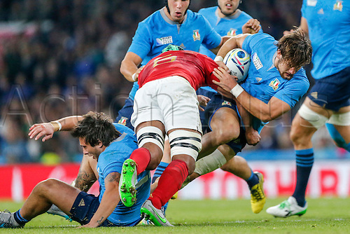 19.09.2015. Twickenham, London, England. Rugby World Cup. France versus Italy. Michele Campagnaro of Italy is tackled by Thierry Dusautoir of France. Final score: France 32-10 Italy.