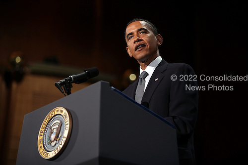 New York, NY - September 9, 2009 -- United States President Barack Obama speaks at a tribute to the late television journalist Walter Cronkite September 9, 2009 at Lincoln Center in New York City. Numerous dignitaries attended the morning memorial service for the former CBS anchorman who died in July. Obama is returning to Washington later today to deliver a major prime-time address to a joint session of Congress on health care..Credit: Spencer Platt / Pool via CNP