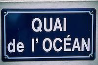 """Europe/France/Bretagne/56/Morbihan/Quiberon/Port-MAria: Plaque de rue """"Quai de l'Océan"""""""