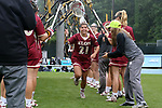 CHAPEL HILL, NC - MAY 12: Elon's Nicole Sinacori (21) is introduced before the game. The Elon University Phoenix played the University of Virginia Cavaliers on May 12, 2017, at Fetzer Field in Chapel Hill, NC in an NCAA Women's Lacrosse Tournament First Round match. Virginia won the game 11-9.