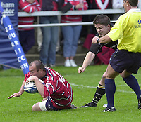 18/05/2002.Sport -Rugby Union- Zurich Championship Quarter final.Gloucester vs Newcastle.Ludovic Mercier touch's down..[Mandatory Credit, Peter Spurier/ Intersport Images].