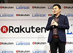 October 6, 2017, Tokyo, Japan - Japan's online commerce giant Rakuten president Hiroshi Mikitani announces Rakuten and convenience store chain Lawson will start a trial service to deliver Lawson's goods with Rakuten's drone in Minamisoma city end of this month in Tokyo on Friday, October 6 2017. Minamisoma's Odaka district was designated as a district under evacuation orders  due to the nuclear accident of TEPCO's Fukushima Dai-ichi nuclear plant caused by tsunami and Lawson opened the first convenience store in the area last year.    (Photo by Yoshio Tsunoda/AFLO) LWX -ytd-
