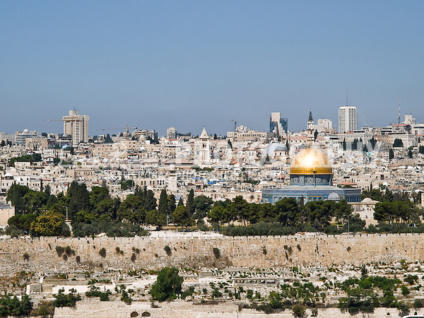 Jerusalem and the Dome of the Rock<br /> <br /> In this picture is possible to see wall of the Old City and the Dome of the Rock, just behind all this it is found the Wailing Wall, several synagogues,  churches, and mosques.