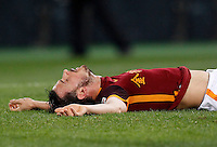 Calcio, Serie A: Roma vs Sampdoria. Roma, stadio Olimpico, 7 febbraio 2016.<br /> Roma&rsquo;s Alessandro Florenzi lies on the pitch during the Italian Serie A football match between Roma and Sampdoria at Rome's Olympic stadium, 7 January 2016.<br /> UPDATE IMAGES PRESS/Riccardo De Luca