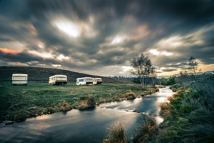 Caravans near, Lake Alexandrina, Mackenzie Country, New Zealand - stock photo, canvas, fine art print