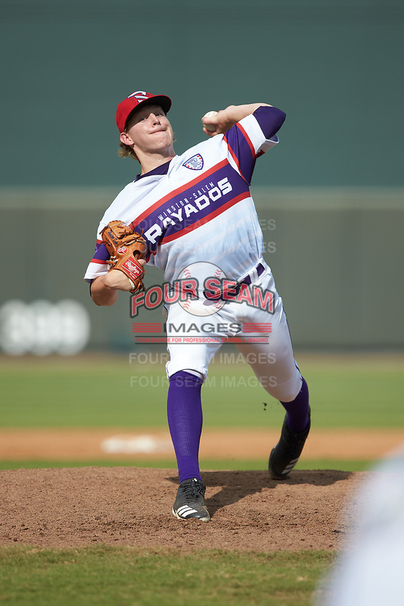 Winston-Salem Rayados relief pitcher Hunter Schryver (20) in action against the Potomac Nationals at BB&T Ballpark on August 12, 2018 in Winston-Salem, North Carolina. The Rayados defeated the Nationals 6-3. (Brian Westerholt/Four Seam Images)