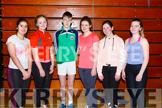 Colaiste Na Sceilge students, Emily Jouen, Sophie Daly Wilson, Mark King, Rachel Houlihan, Saoirse Curran and Orla Sugrue attending the Spike Ball blitz at the Tralee Sports Complex on Thursday last.