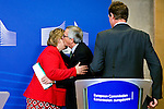 BRUSSELS - BELGIUM - 21 January 2015 -- Jean-Claude JUNCKER the President of the European Commission kissing Erna SOLBERG, Prime Minister of Norway good-bye after the press conference. -- Photo: Juha ROININEN / EUP-IMAGES / Prime Ministers Office