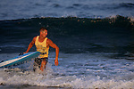 Bradley Beach lifeguard Matt Nunnally emerges from the surf first to win the 1,000-Meter Paddleboard event at the First Annual Asbury Park Beach Bar Lifeguard Competition held at the 3rd Avenue beach in Asbury Park.  Nunnally was the top point earner for the entire event. ASBURY PARK, NJ  8/4/07  8:21:47 PM  PHOTO BY ANDREW MILLS