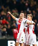 Nederland, Amsterdam, 8 december 2012.Eredivisie.Seizoen 2012-2013.Ajax-FC Groningen.Derk Boerrigter van Ajax juicht wanneer hij een doelpunt heeft gemaakt