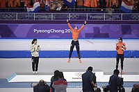 OLYMPIC GAMES: PYEONGCHANG: 12-02-2018, Gangneung Oval, Long Track, 1500m Ladies, Final result, Miho Takagi (JPN), Ireen Wüst (NED), Marrit Leenstra (NED), ©photo Martin de Jong