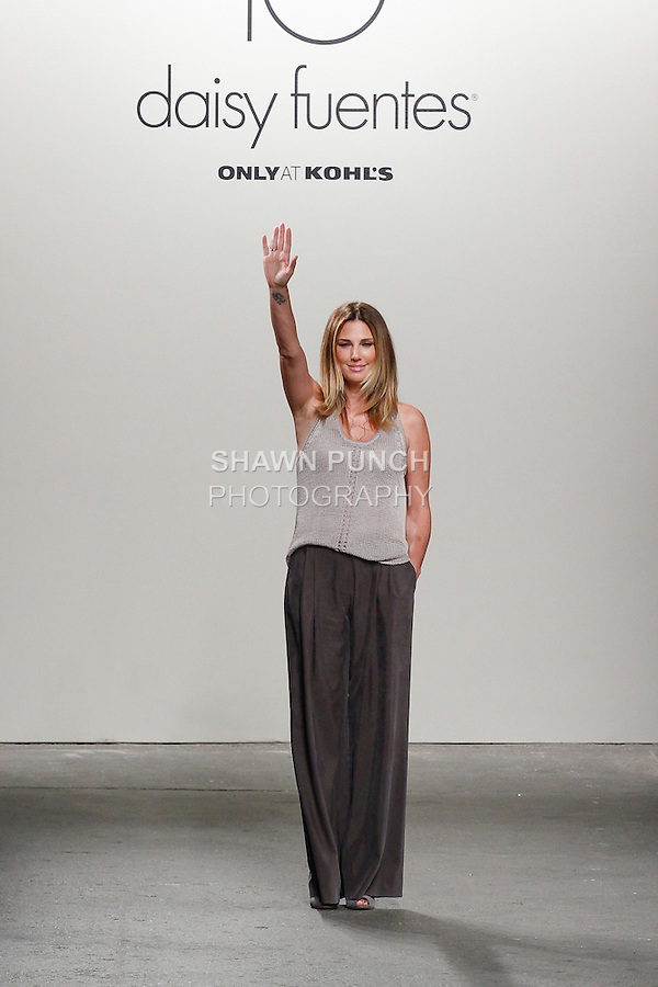Fashion designer Daisy Fuentes walks runway at the close of her Daisy Fuentes Spring Summer 2014 fashion show, during New York Fashion Week Spring 2014, on September 11, 2013.