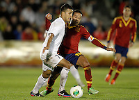 Spain's Thiago Alcantara (r) and Norway's Singh during international sub21 match.March 21,2013. (ALTERPHOTOS/Acero) /NortePhoto