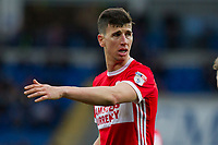 Daniel Ayala of Middlesbrough helps to organise a defensive wall during the Sky Bet Championship match between Cardiff City and Middlesbrough at the Cardiff City Stadium, Cardiff, Wales on 17 February 2018. Photo by Mark Hawkins / PRiME Media Images.