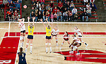 Wisconsin Badgers Julie Mikaelsen (12) hits the ball during an NCAA volleyball match against the Michigan Wolverines at the Field House on October 30, 2010 in Madison, Wisconsin. Michigan won the match 3-1. (Photo by David Stluka)