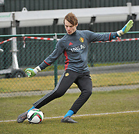 20180308 - TUBIZE , BELGIUM : Belgian Maarten Vandevoordt pictured during a friendly game between the teams of the Belgian Red Devils Under 16 and Northern Ireland Under 16 at the Belgian Football Centre in Tubize , Thursday 8 th March 2018 ,  PHOTO Dirk Vuylsteke | Sportpix.Be