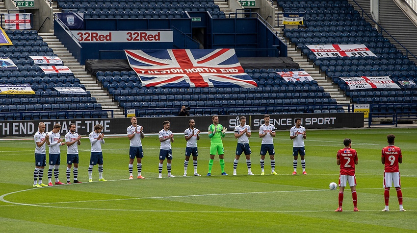 Preston North End and  Nottingham Forest players take part in a minute's applause for the late Jack Charlton<br /> <br /> Photographer Andrew Kearns/CameraSport<br /> <br /> The EFL Sky Bet Championship - Preston North End v Nottingham Forest - Saturday 11th July 2020 - Deepdale Stadium - Preston <br /> <br /> World Copyright © 2020 CameraSport. All rights reserved. 43 Linden Ave. Countesthorpe. Leicester. England. LE8 5PG - Tel: +44 (0) 116 277 4147 - admin@camerasport.com - www.camerasport.com
