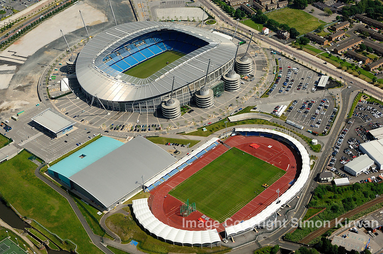 Football grounds from the air Aerial view of Etihad Stadium, City of Manchester Stadium, home of Manchester City FC